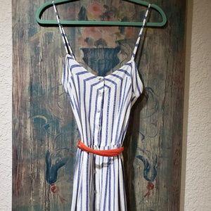 Zara Button-Front Navy Stripe Light Summer Dress